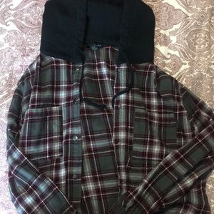 Cropped flannel drawstring jacket